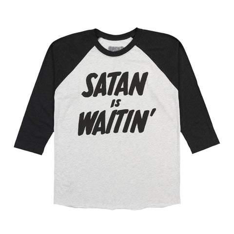 SATAN IS WAITIN BASEBALL RAGLAN (HEATHER GREY)
