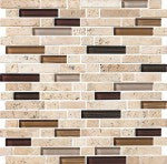 Elysium Milano Travertine and Art Glass Mosaics 11.75x12 (please call us for pricing)