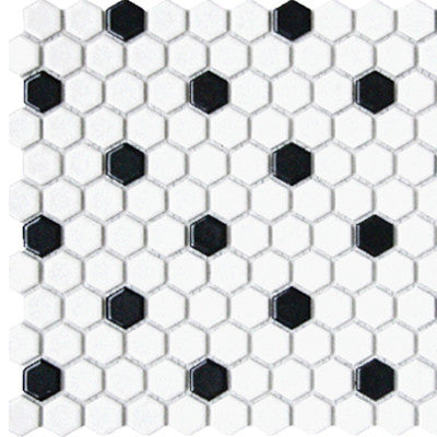 Tile 1X1 Hexagon White & Black Matte Mosaic