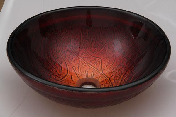 Roma Fire Hand Made Tempered Glass Vessel Sink