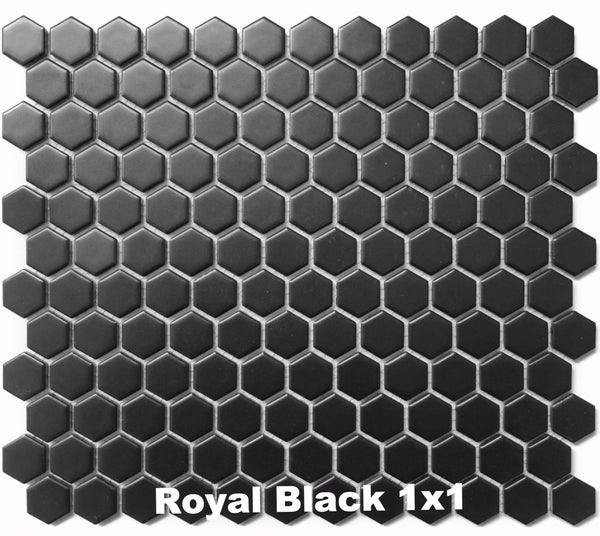 sognare tile black matte 1x1 hexagon