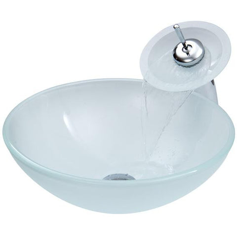 Frosty Hand Made Tempered Glass Vessel Sink