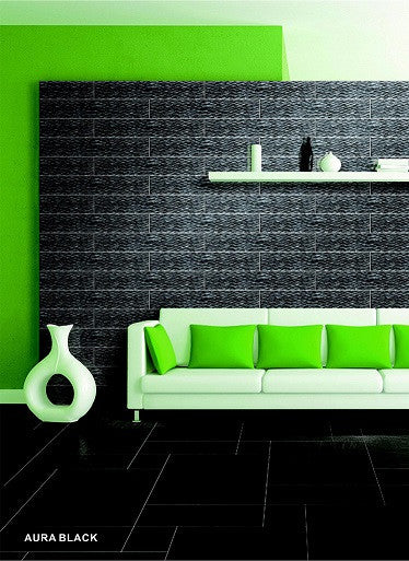 Elysium Large Format Glass Aura Black Glass Tile  4x23.6 (call us for pricing)
