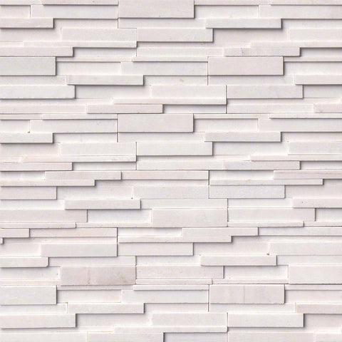 Arctic White 3D Honed Ledger/Stacked Stone Panels