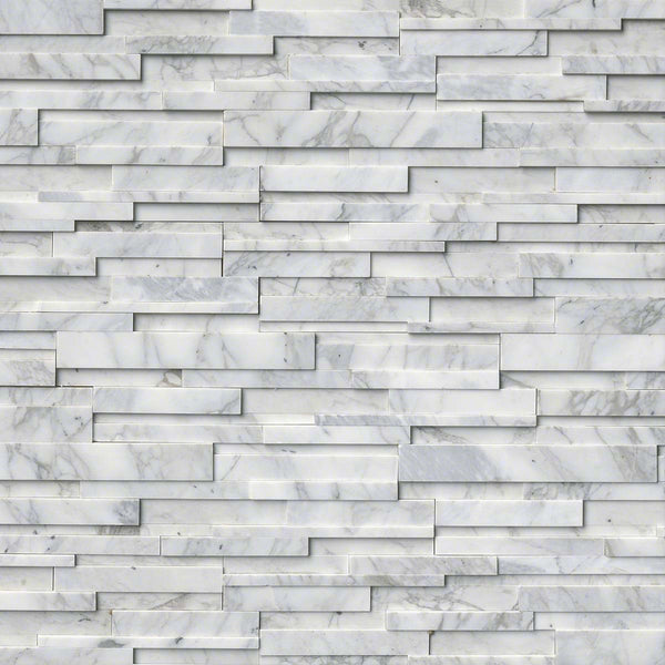 Calacatta Cressa 3D Honed Ledger/Stacked Stone Panels