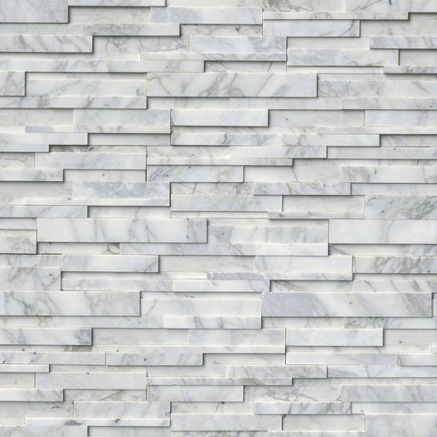Calacatta Cressa Snow 3D Honed Ledger/Stacked Stone Panels