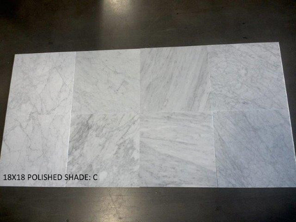 Carrara Marble Polished Made In Italy 18x18 Premium Grade
