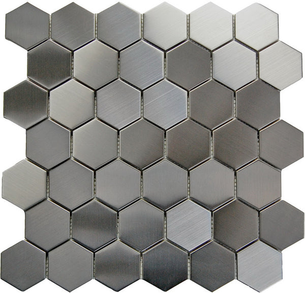 "BRO Stainless Steel 2""x2"" Hexagon Mosaic on a 12x12 Sheet"