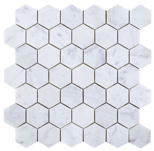 Elysium Hexagon Carrara honed