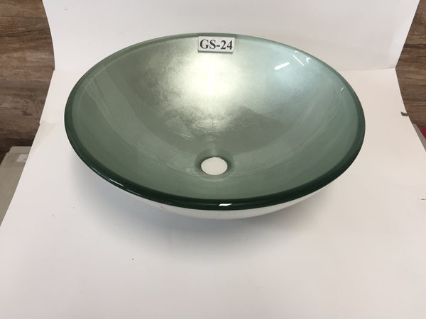 Parma Hand Made Tempered Glass Vessel Sink (FREE SHIPPING!)