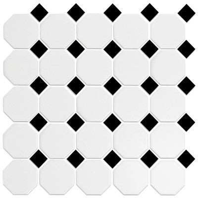 Tile Octagonal Snow White & Black 12x12 Mosaic