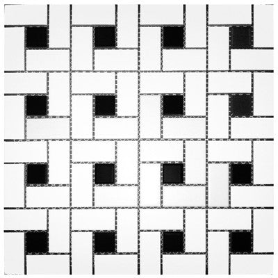 Tile Pinwheel White & Black Dot Mosaic