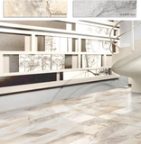 "LUN Camelia 8""x24"" Made in Europe Porcelain Limestone Look Tile"