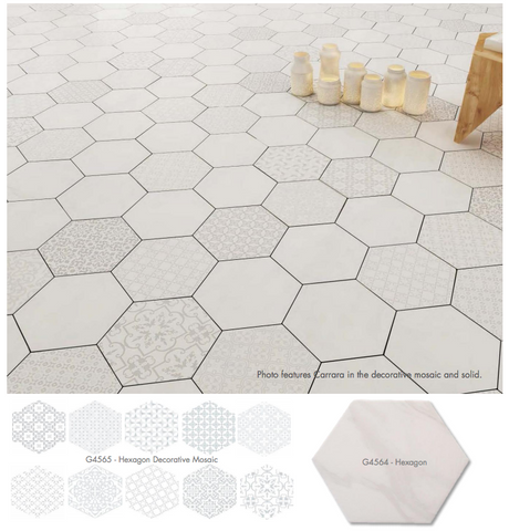 "LUN Carrara Hexagon Mixed Decor 9.6""x11"" Made in Europe Tile"