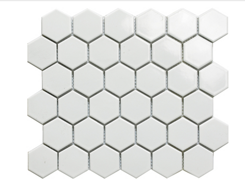 "Elysium White Hexagon Polished 2""x2"" Mosaic on 12""x12"""