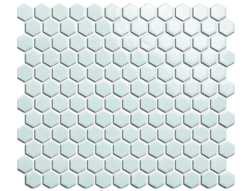 "Elysium White Hexagon Polished 1""x1"" Mosaic on 12""x12"" pool rated"