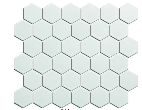 "Elysium White Hexagon Matte 2""x2"" on 12""x12"" Mosaic"
