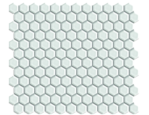 "Elysium White Hexagon Matte 1""x1"" on 12""x12"" Mosaic"