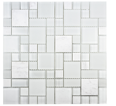 Elysium Tiles Vic Square Marble & Glass Mosaics 11.25x13.75 (please call us for special pricing)