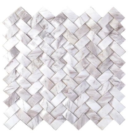 Elysium Weave Carrara Honed Mosaic 12x12