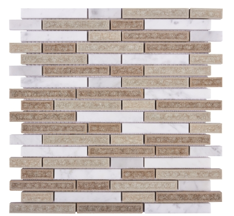 Elysium Van Gogh Ash Grey Stack Glass and Marble Mosaics 11.75x12 (call us for special pricing)