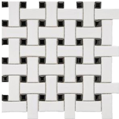 Tile White & Black Basket Weave Mosaic