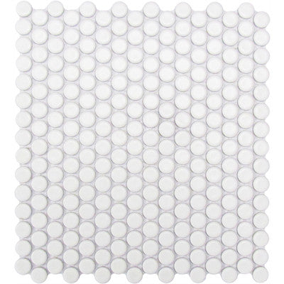 Tile White Matte Penny Round Mosaic