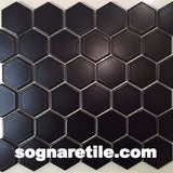 Royal Black Matte 2X2 Hexagon Mosaic (may qualify for free shipping - call us)