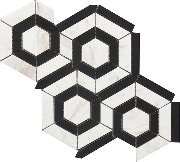 "Black & White Hexagon 9""x12"" Marble Mosaic USTMBWHX012"
