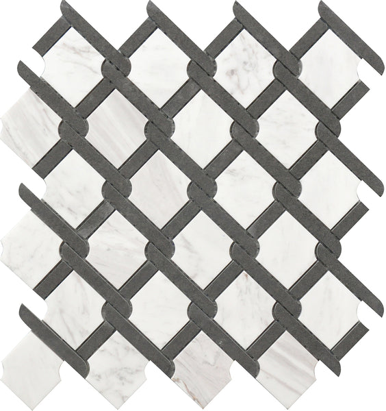 "Roca Tile Black & White Medallion 12""x12"" Marble Mosaic"