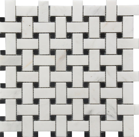 "Black & White Basket Weave 12""x12"" Marble Mosaic USTMBSWI003"