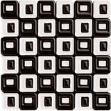 Royal Chess Blanco (white & black) Square Contemporary Mosaic 14x14 (wall only)