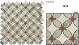 Glazzio Tile Flower Marble Mosaic FS72 Ming Green, Red, Thassos White