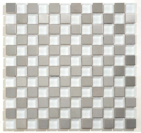 GT White Glass & Stainless Steel Glacier Checkerboard Mosaic (may qualify for free shipping)