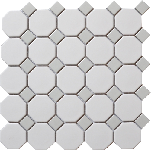 Royal White & Grey Octagonal Matte Mosaic