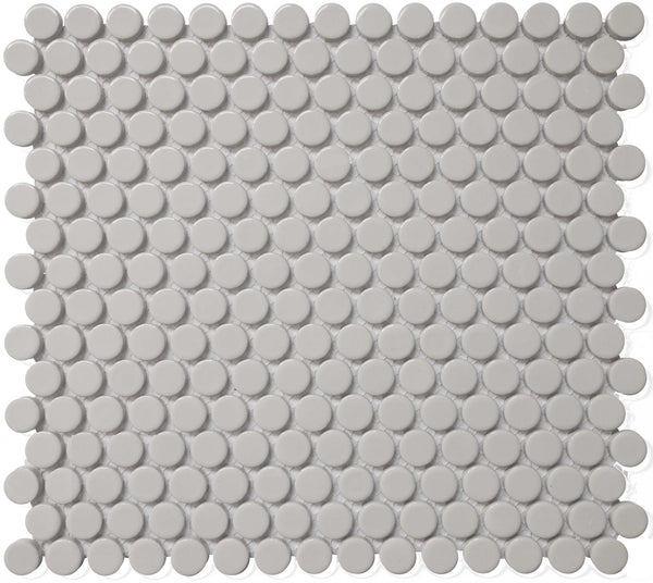Royal Grey Matte Penny Rounds Mosaic