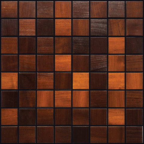 "Thermally Treated Alder Natural Wood Mosaics 13""x13"" Sheet (May qualify for free shipping)"