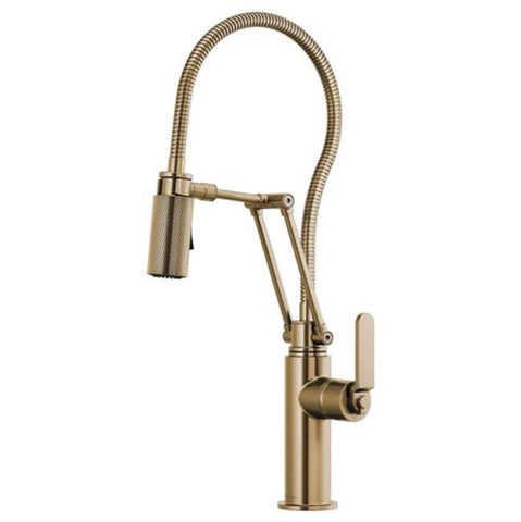 Brizo Articulating Faucet With Finished Hose Luxe Gold
