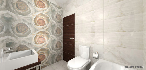 SD Carrara Fields Made in Spain Glossy Marble Inspired Tile