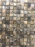 "Dark Emperador Tumbled Glass Mosaic 5/8"" x 5/8"" (Free shipping)"