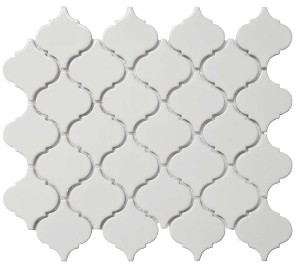 Royal White Glossy Arabesque Lantern Mosaic