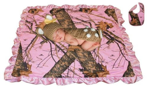 Pink Camo Baby Blanket MOSSY OAK Break Up Pink with Satin Trim