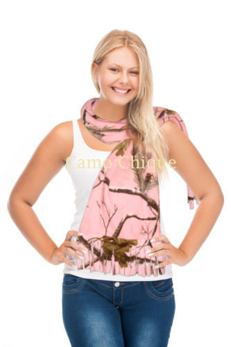 Realtree Pink Camo Fleece Scarf Neck Gaiter Neckwarmer Womens Fringe Camouflage