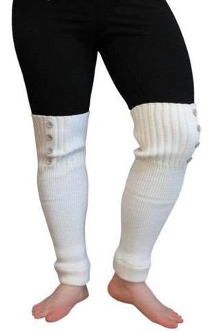 "Plus Size Arm | Leg Warmers Womens Acrylic Knit Sleeves 20"" (IVORY CREAM)"