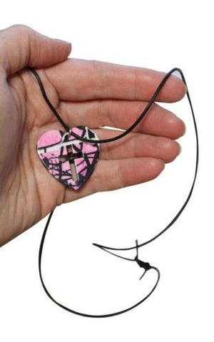 Muddy Girl Heart-Shaped Cross Necklace + Free Browning Buckmark Key Ring