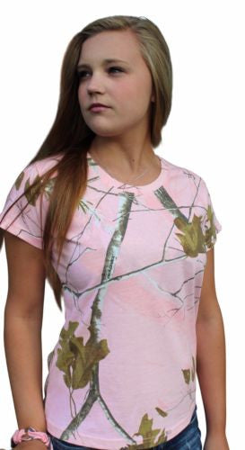 Realtree Pink T-Shirt Womens Plus Size Pink Camo Camouflage Classic Cotton Shirt