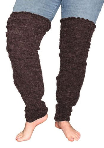 Plus Size Leg Warmers Acrylic Thigh High Knit Sleeve (Dark Brown)