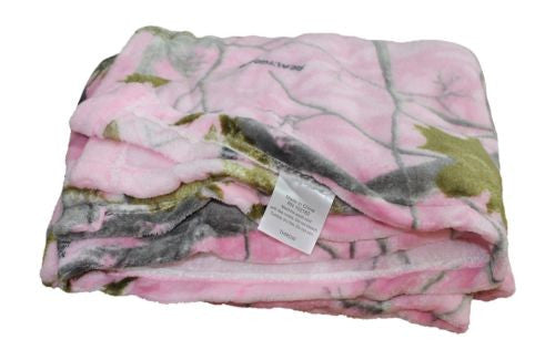 Realtree Pink Camo Coral Fleece Throw Blanket