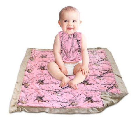 Pink Mossy Oak Baby Blanket and Bib Set 2PC Gift