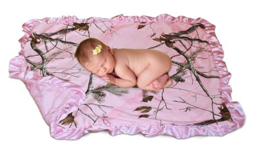 Realtree Mossy Oak Baby Blanket Pink Blue Boys Girls Microsuede Blankie